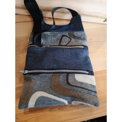 Sac à main de tissus recyclés Béco- Jeans patchwork
