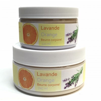 Beurre corporel - Lavande-orange  120 ml-240 ml