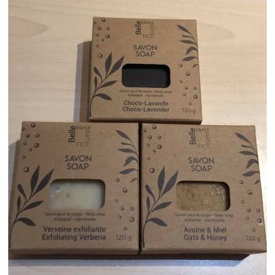 Trio de Savons Avoine & Miel, choco-lavande, Verveine exfoliante (360 g)
