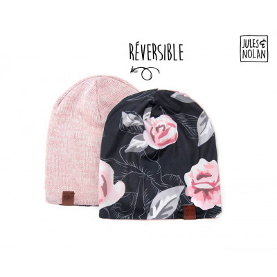 "Tuque ""slouchy beanie"" - Fleurs Roses"