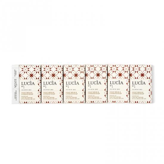 Lucia N°1 Boîte cadeau de 6 savons d'invités au lait de chèvre et à l'huile de lin (6x25g)
