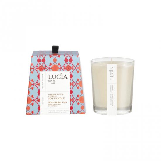 Lucia N°10 Bougie de soja Rose de damas et cyprès (20h)