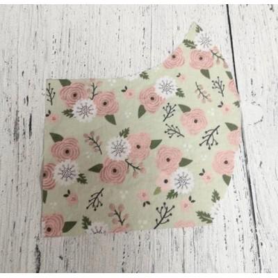 Masque- Fleurs roses et blanches (fond vert)
