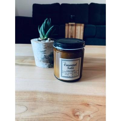 Chandelle Naja à mèche de bois (9oz) -Caramel salé