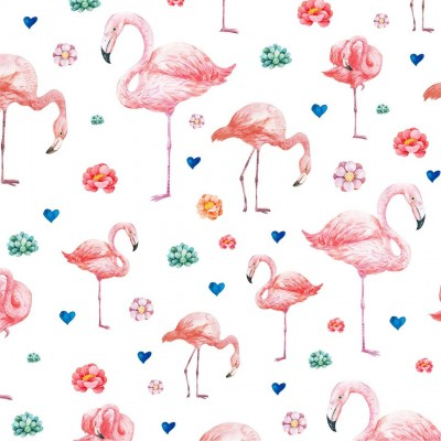 Couverture minky - Flamant rose