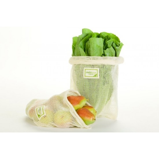 Ensemble de 4 sacs en filet pour fruits et légumes- Coton biologique